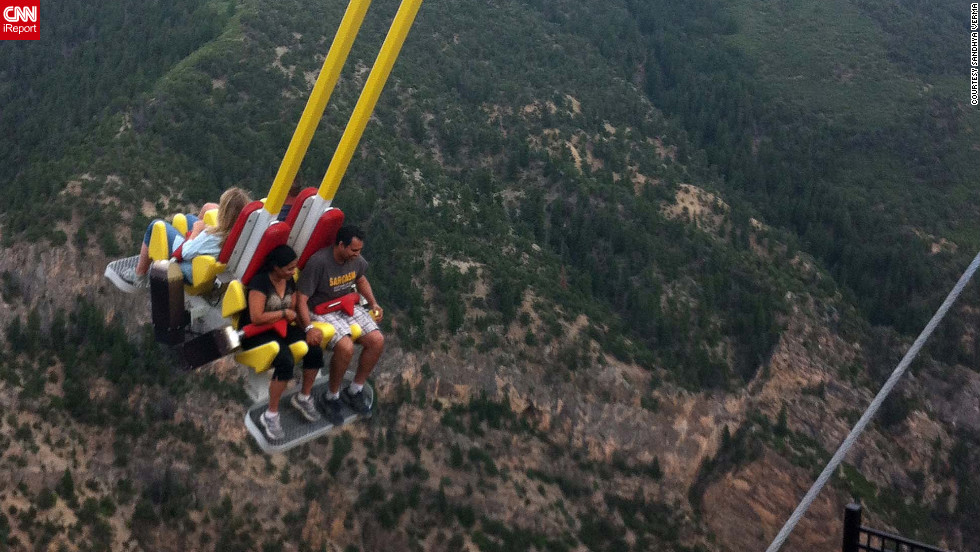 """The swing takes (you) beyond the mountain cliff into the abyss,"" writes Sandhya Verma of the<a href=""http://ireport.cnn.com/docs/DOC-831739""> Giant Canyon Ride</a> in Glenwood Springs, Colorado. Verma was too scared to go on the ride herself, but her sister and her husband rode twice, once with their eyes closed and the second time with them open."