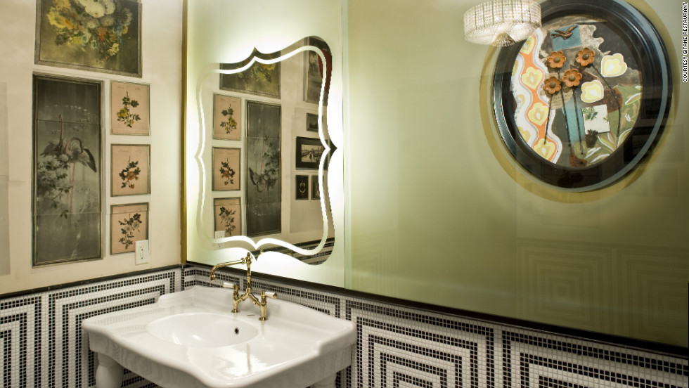 "Bohemian flair carries over to the restroom at Gitane, which means ""gypsy woman"" in French."