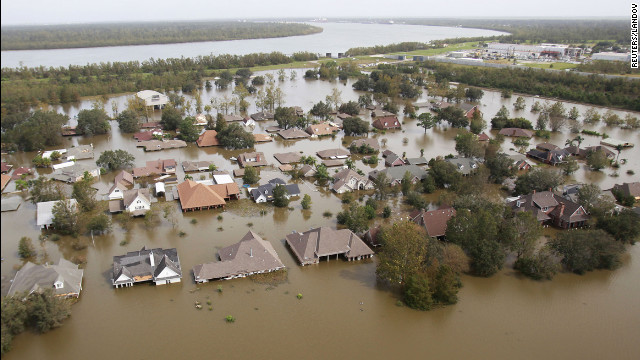 Houses submerged in flood waters in Braithwaite, Louiana, on August 31, 2012.