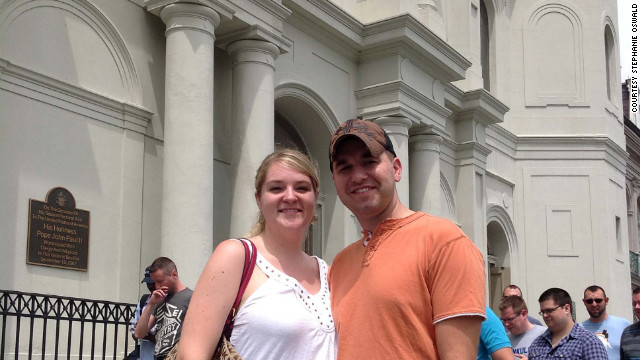 Brooke Garner and Derrick Richardson visited Jackson Square on Friday. It was Richardson's first visit to New Orleans.