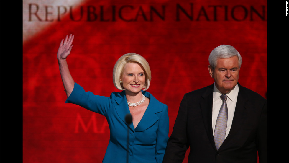 Callista and Newt Gingrich take  the stage during the final day of the Republican National Convention.