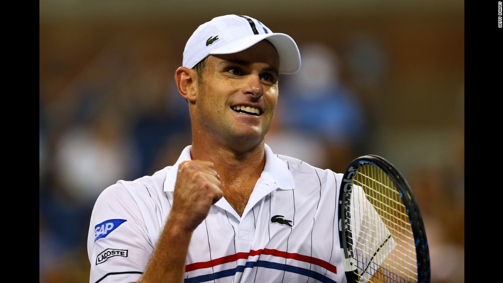 Roddick celebrates a point during his men's singles second round match Tomic. Roddick, 30, who has announced he will retire after the U.S. Open, won in three sets.