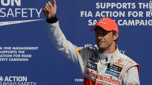 It's thumbs up for Jenson Button after claiming pole for the Belgian Grand Prix for McLaren.