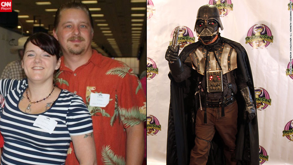 "<strong>Cameron Schleusner as steampunk Darth Vader (""Star Wars"")</strong>Jennifer Adams and her boyfriend, Cameron Schleusner, met at Dragon*Con <a href=""http://ireport.cnn.com/docs/DOC-830647"">during her first trip</a> to the convention. Now, they attend together every year. Schleusner spent most of his time at Dragon*Con this year as a steampunk version of Darth Vader. ""The helmet he shaped out of boiled leather, added metal bits and wired for lights and sound,"" said Adams. ""He also decided to build a Boba Fett helmet out of the same technique to carry around as a trophy. It is going to blow people away."""