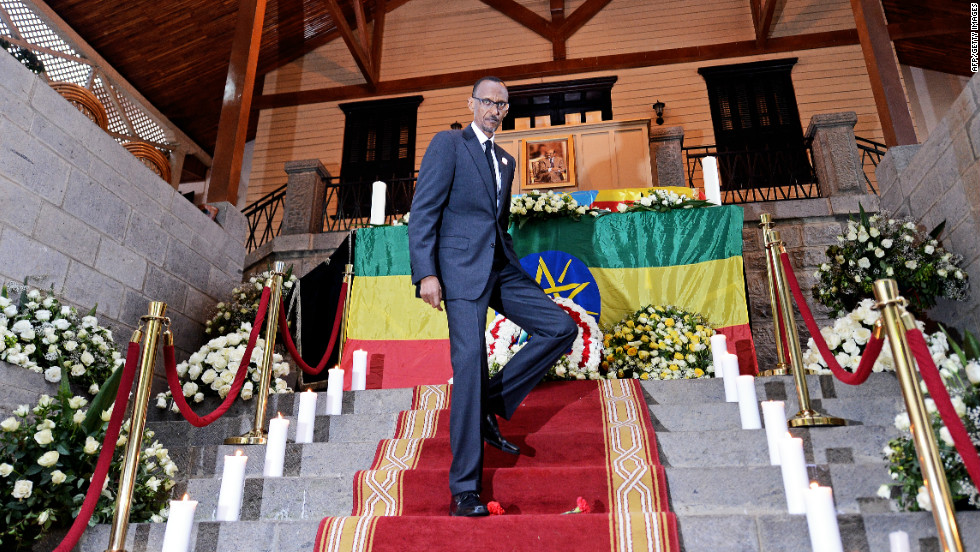 Rwandan President Paul Kagame pays his last respects to Ethiopian Prime Minister Meles Zenawi.