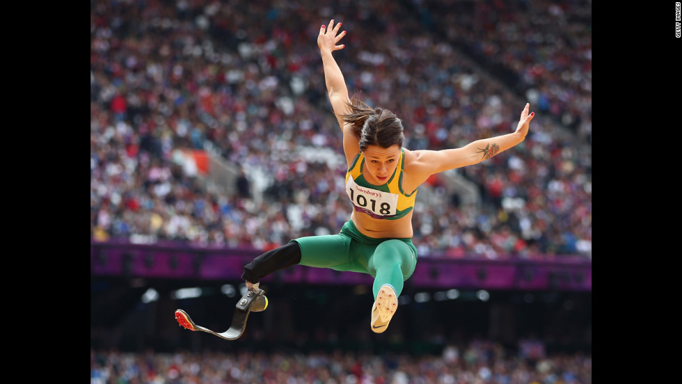 Kelly Cartwright of Australia competes in the women's long jump F42/44 final at Olympic Stadium.