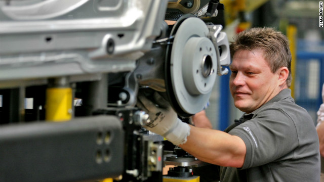 A employee works at the new A-Class Mercedes-Benz passenger car at the Mercedes-Benz factory on July 16, 2012 in Rastatt, Germany.