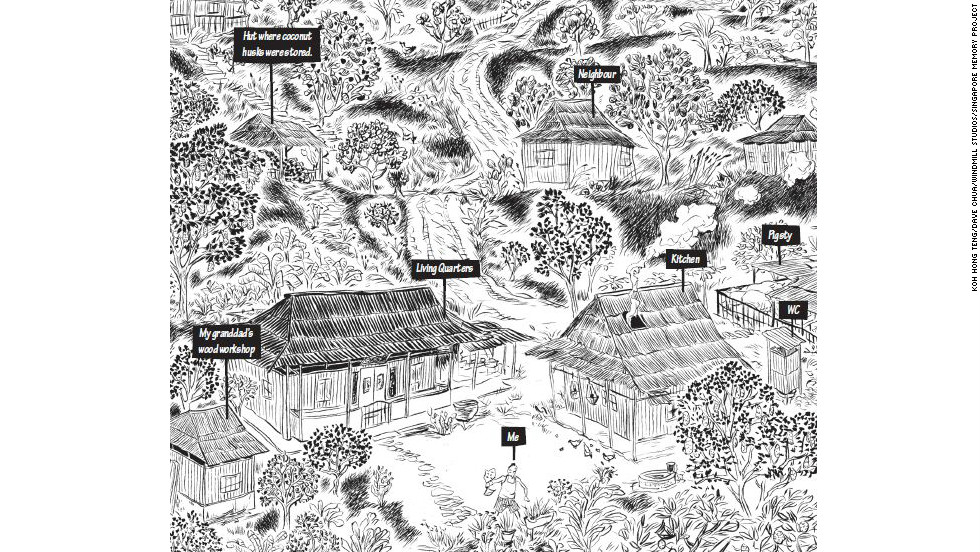 "The Singapore Memory Project also commissioned what it calls ""Drawn from Memory"" works that include ""comic adaptations of some of the most nostalgic and emotive aspects of life in Singapore.""  Koh Hong Teng and Dave Chua submitted a comic book called ""The Cut,"" showing life in a kampung, or village. This cover art by Teng shows what his life was like in Kampung Chai Chee, where he lived with many relatives in the early 1970s."