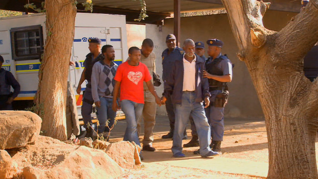 South African miners' arrvial to court September 3, 2012.