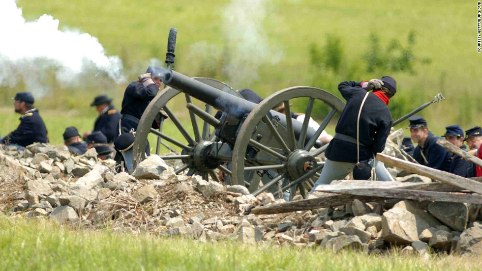 Civil War reenactors gather in Gettysburg.