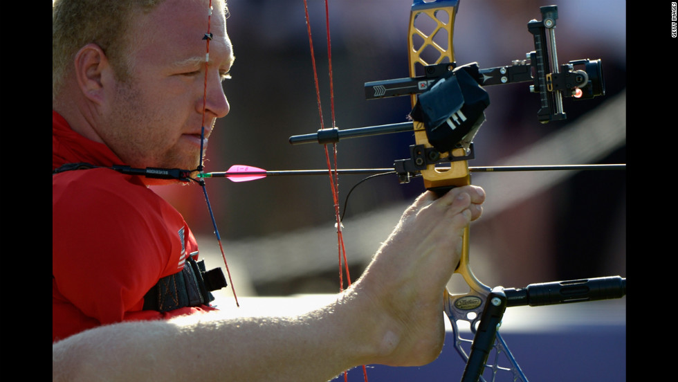 Matt Stutzman of the United States competes in men's individual compound archery.