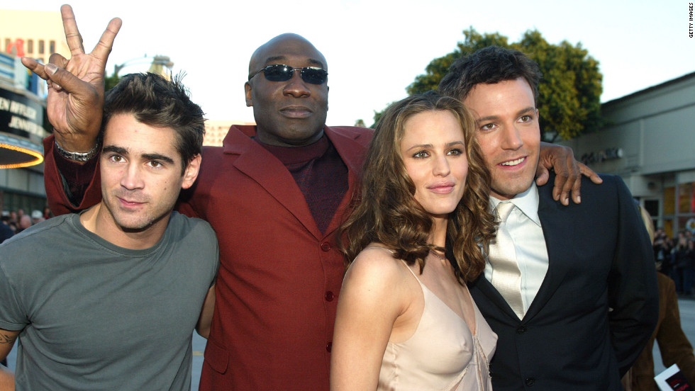 "Colin Farrell, Duncan, Jennifer Garner and Ben Affleck arrive for the premier of ""Daredevil"" in 2003."