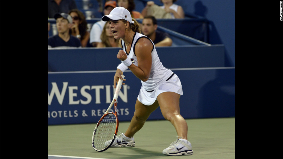 Anna Tatishvili of Georgia celebrates a point during her women's singles fourth-round match Sunday against Victoria Azarenka of Belarus.