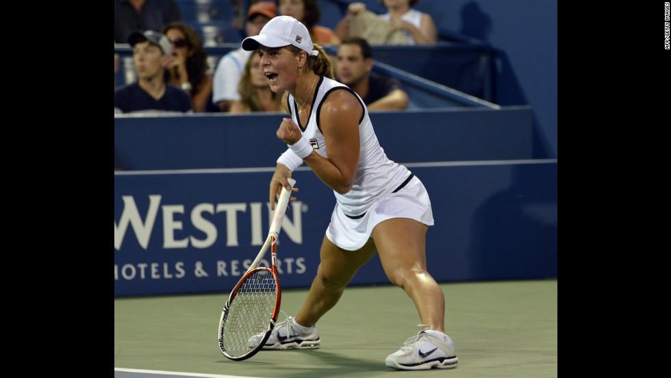 Anna Tatishvili of Georgia celebrates a point during her women's singles fourth-round match Sunday against Victoria Azarenka of Belarus.