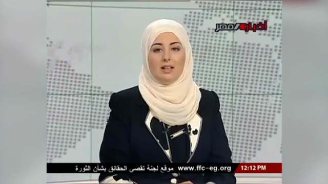 Veiled woman reads news on Egypt TV