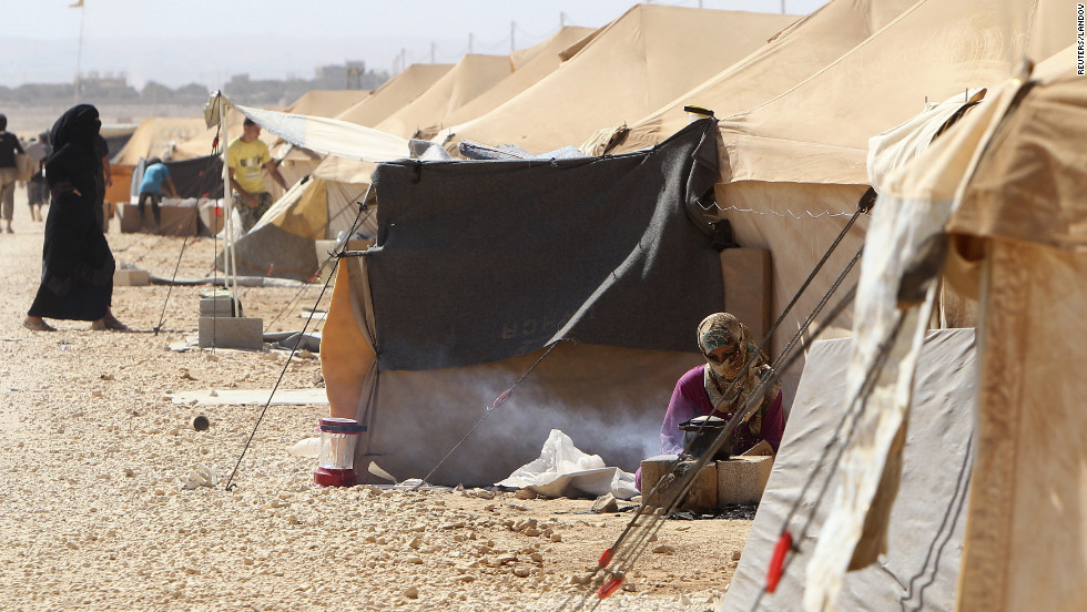 Za'atari Refugee camp in northern Jordan, about six miles from the Syrian border, currently hosts over 20,000 Syrian refugees. UNICEF predicts 70,000 people will be living there by the end of the year.