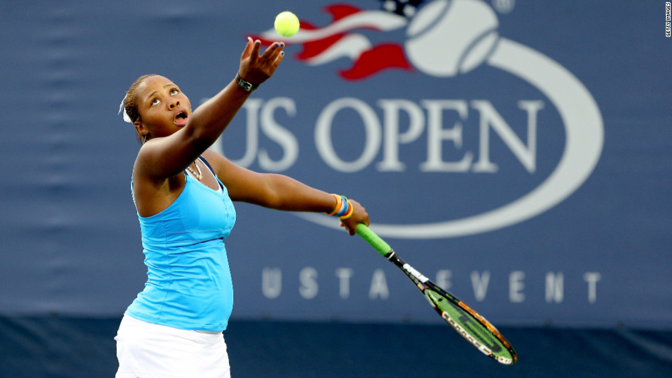 Taylor Townsend of the United States serves during her doubles match on Monday.