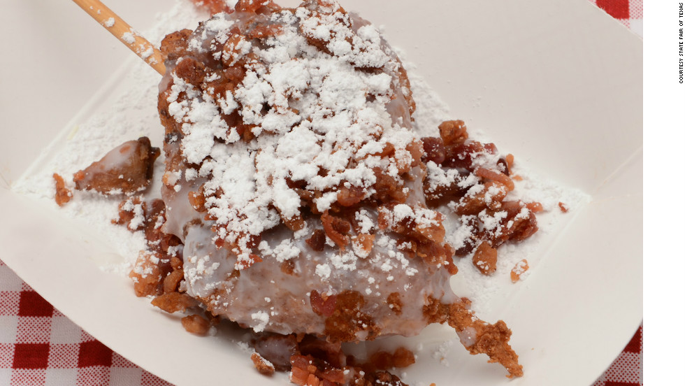 "The fried bacon cinnamon roll won first place for ""Most Creative"" treat at the 2012 State Fair of Texas. It's made of a cinnamon roll dipped in a sweet pancake batter and rolled in crispy fried bacon crumbles. It is then deep-fried and topped with powder sugar. The fair calls it ""a main course and a dessert all in one."""