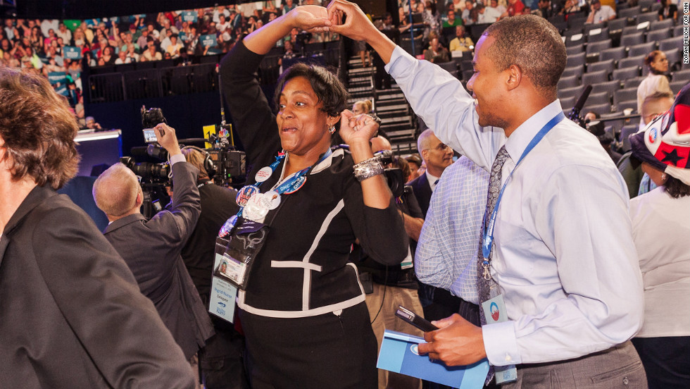 Ingrid Nurse and Chaz Beasley of North Carolina dance Tuesday at the DNC.