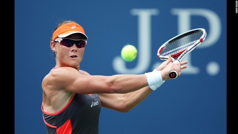 Samantha Stosur of Australia returns a shot against Victoria Azarenka of Belarus on Tuesday.