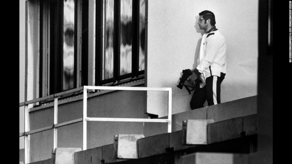"A German policeman leans against a wall outside an apartment where Israeli hostages are held, Munich, September 1972. <a href=""http://life.time.com/history/munich-massacre-1972-olympics-photos/"" target=""_blank"">See the complete gallery on LIFE.com</a>."