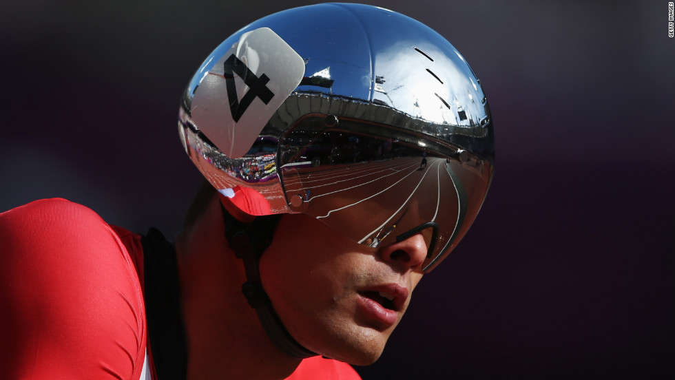 Marcel Hug of Switzerland competes in the men's 800-meter T54 round 1 heat 2 cycling event on Wednesday.