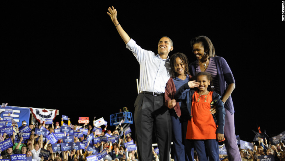 Just a few days before he was elected President, Barack Obama campaigns with his family in Springfield, Missouri, in November 2008. Malia was 10 at the time and Sasha was 7.