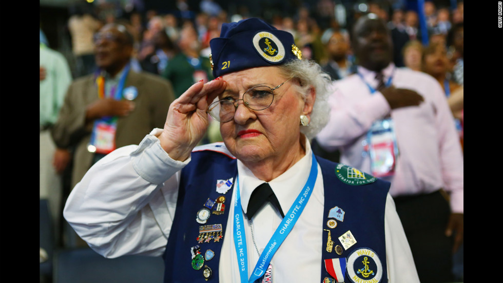 Ruby Gilliam of Ohio salutes the flag on Wednesday.