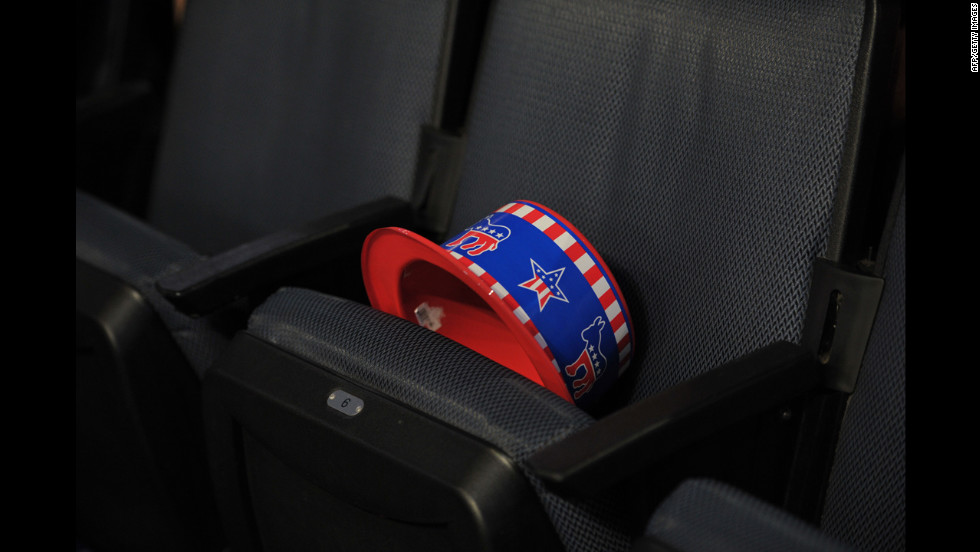A tri-colored hat sporting the Democratic party's mascot sits on a chair on Wednesday.