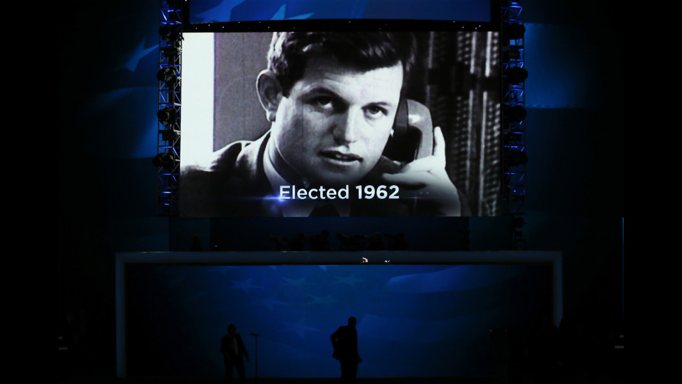 A video tribute to the late Sen. Ted Kennedy is displayed Tuesday in Charlotte.