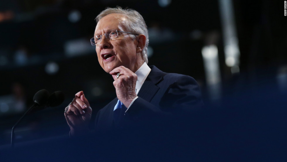 Senate Majority Leader Harry Reid of Nevada speaks to an applauding crowd on Tuesday.