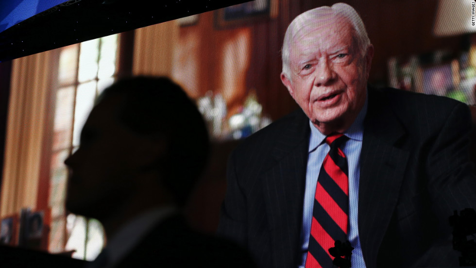Former President Jimmy Carter addresses the convention in a videotaped message.