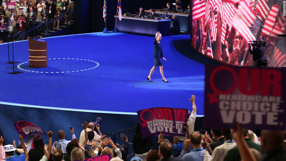 Planned Parenthood President Cecile Richards walks off stage after her speech Wednesday.