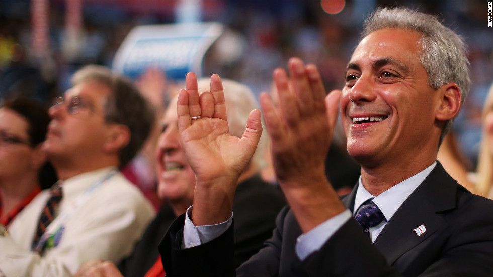 Chicago Mayor Rahm Emanuel claps while listening to Wednesday's speeches. He spoke Tuesday night.