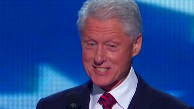 """""""It takes some brass,"""" Clinton quipped during his speech Wednesday night"""