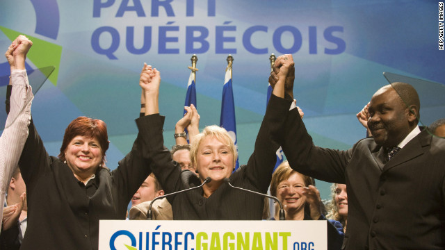 Parti Quebecois leader Pauline Marois may have been the target of an attack.
