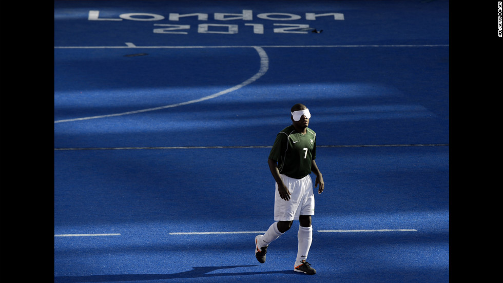 Brazil's Jeferson da Conceicao Goncalves is seen during the game against Argentina during the men's 5-a-side football semi-final match between Argentina and Brazil on Thursday.