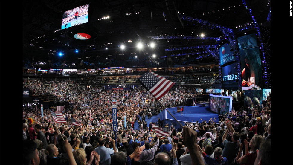 Illinois nominee for Congress Tammy Duckworth leaves the stage after speaking at the Democratic convention on Tuesday.