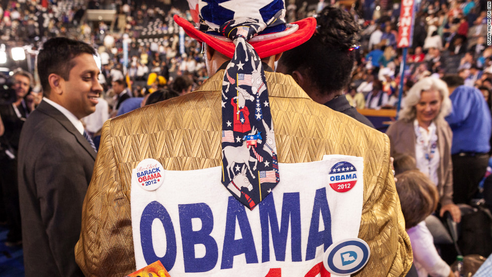 A man displays his enthusiasm for President Barack Obama during the Democratic Naionakl Convention on Thursday.