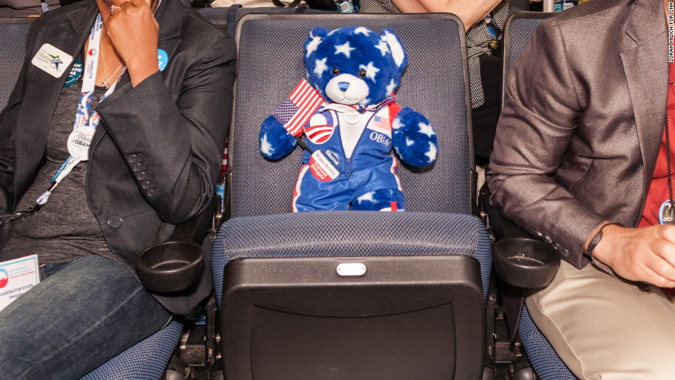 A teddy bear holds a seat at the convention on Wednesday.