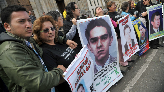 "Relatives of people missing and kidnapped in Colombia demonstrate during a protest called by the national association ""The Missing Ones"", at Bolivar Square in Bogota, on September 6, 2012."