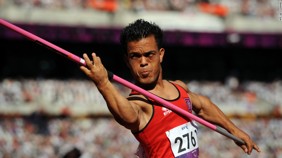 Tunisia's Mohamed Amara competes in the men's javelin throw F40 final Friday.