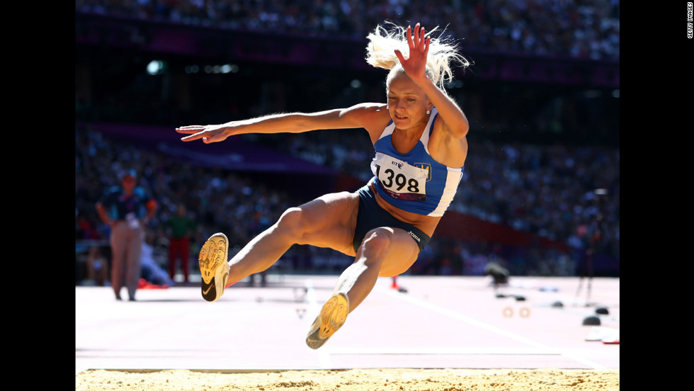 Oksana Zubkovska of Ukraine competes in the women's long jump F11/12 final on Friday.