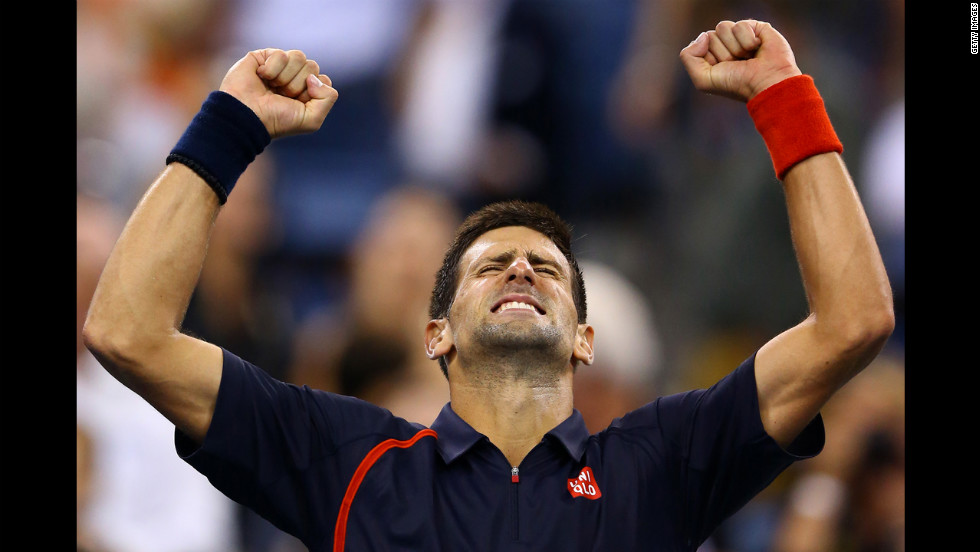 Novak Djokovic of Serbia celebrates match point during his men's singles quarterfinal match against Juan Martin del Potro of Argentina on Thursday, September 6.