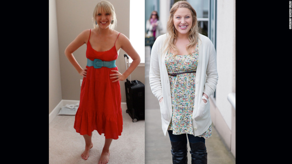 "Burke shows off her dramatic weight change due to the fertility hormones. ""This photo on the left is my body before medications at 150 lbs, and then second photo was taken the day of the second transfer, just a few weeks ago at around 180 lbs (give or take an embryo),"" she <a href=""http://abellyformeababyforyou.blogspot.com/2012/04/from-fit-to-fat.html"" target=""_blank"">wrote on the blog</a>."
