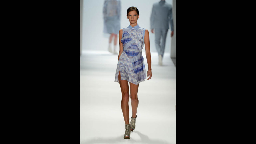 Richard Chai's spring line featured a soft palette, like the powder blue seen here.