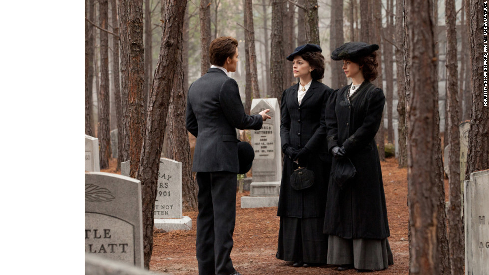 """Even though they are more challenging than the contemporary clothes, I enjoy doing the flashbacks most of all,"" Leverett said. This scene takes place at a funeral for one of Stefan and Damon's relatives in 1912. ""Since we're dealing with vampires and werewolves,"" Leverett said, ""we go for the coolest, sexiest look that we can get away with for the period. ... We take a little license here and there, (but) everything is still grounded in the reality of whatever time period we are doing."""