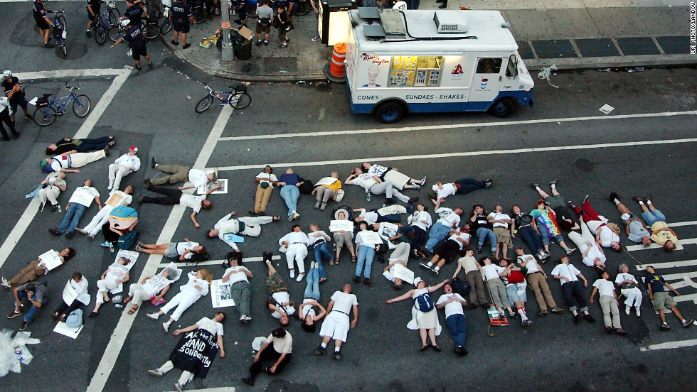 <strong>2004: </strong>Demonstrators at the 2004 Republican National Convention in New York stage a die-in at Broadway and 30th Street.