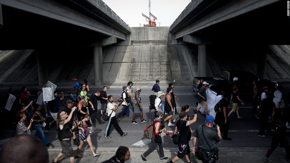 <strong>2012:</strong> Protesters march during the Republican National Convention on August 29 in Tampa, Florida. The group remained peaceful and was allowed to make its own route through the city.