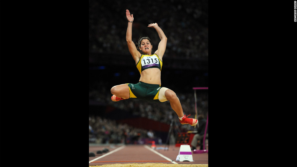 South Africa's Johanna Pretorius competes in the women's long jump F13 final on Friday.